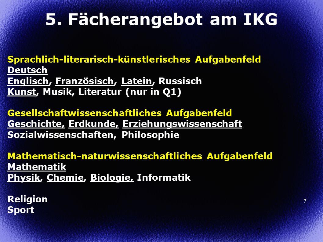 5. Fächerangebot am IKG Sprachlich-literarisch-künstlerisches Aufgabenfeld. Deutsch. Englisch, Französisch, Latein, Russisch.