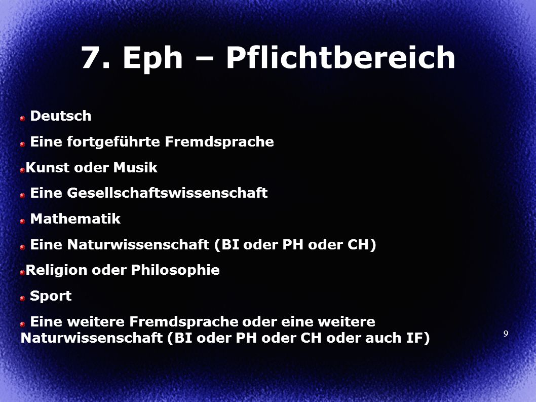 7. Eph – Pflichtbereich Deutsch Eine fortgeführte Fremdsprache