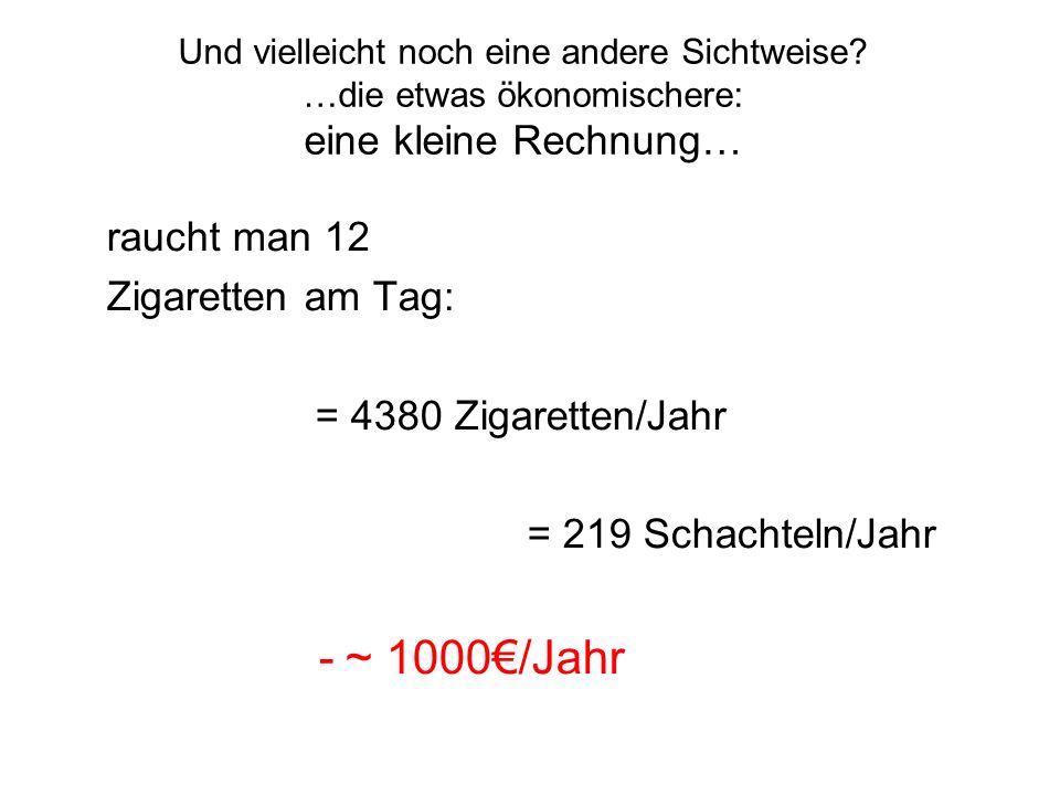 ~ 1000€/Jahr raucht man 12 Zigaretten am Tag: = 4380 Zigaretten/Jahr