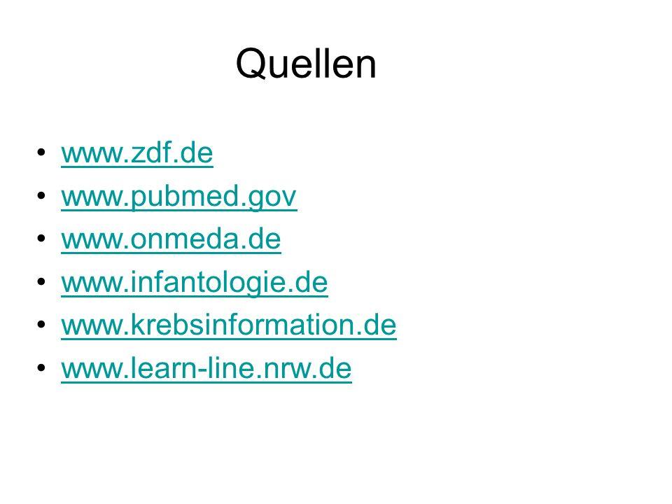 Quellen www.zdf.de www.pubmed.gov www.onmeda.de www.infantologie.de