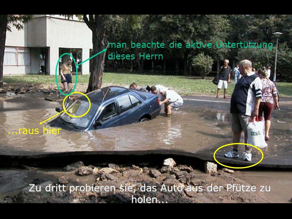 Zu dritt probieren sie, das Auto aus der Pfütze zu holen...