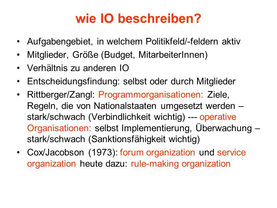 wie IO beschreiben Aufgabengebiet, in welchem Politikfeld/-feldern aktiv. Mitglieder, Größe (Budget, MitarbeiterInnen)