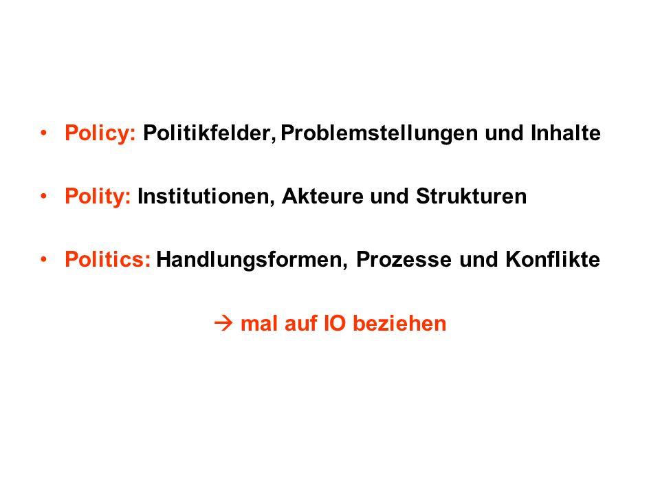 Policy: Politikfelder, Problemstellungen und Inhalte
