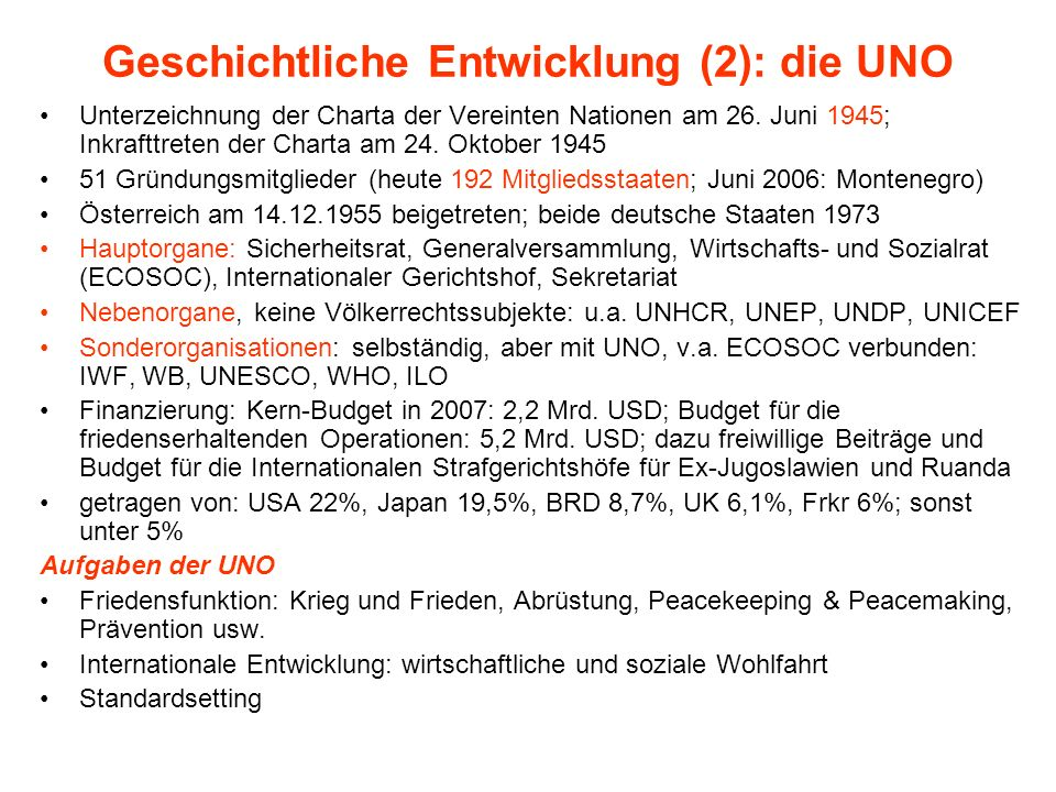 Geschichtliche Entwicklung (2): die UNO