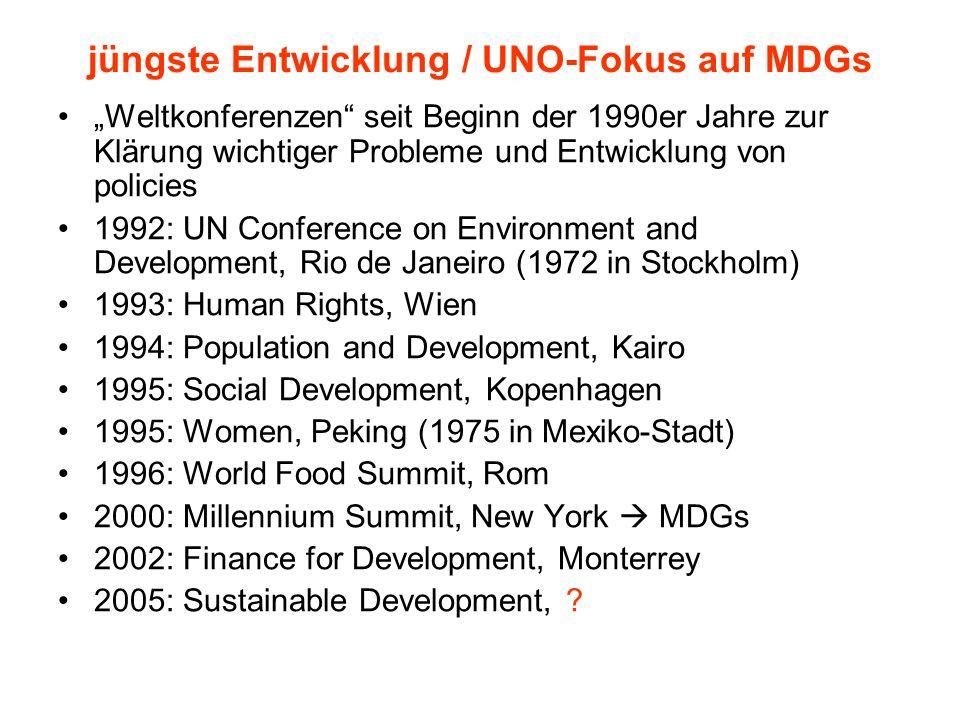 jüngste Entwicklung / UNO-Fokus auf MDGs