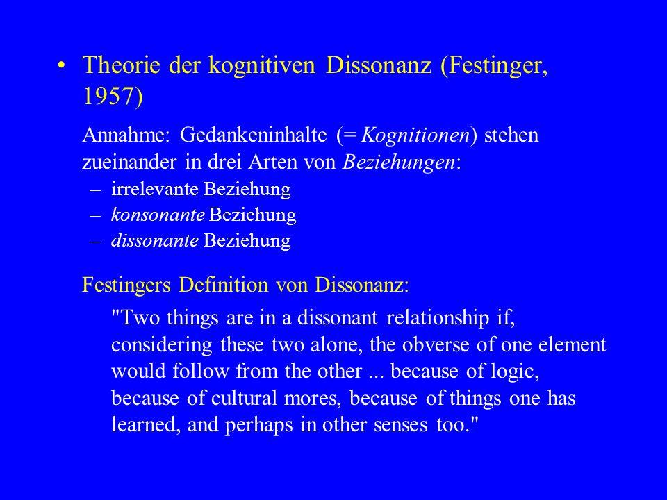 Theorie der kognitiven Dissonanz (Festinger, 1957)
