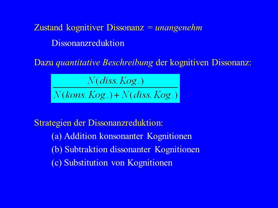 Zustand kognitiver Dissonanz = unangenehm Dissonanzreduktion