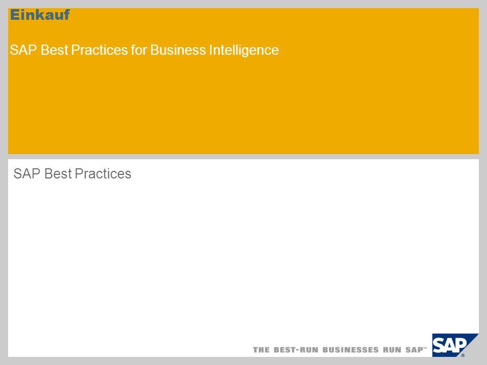 Einkauf SAP Best Practices for Business Intelligence
