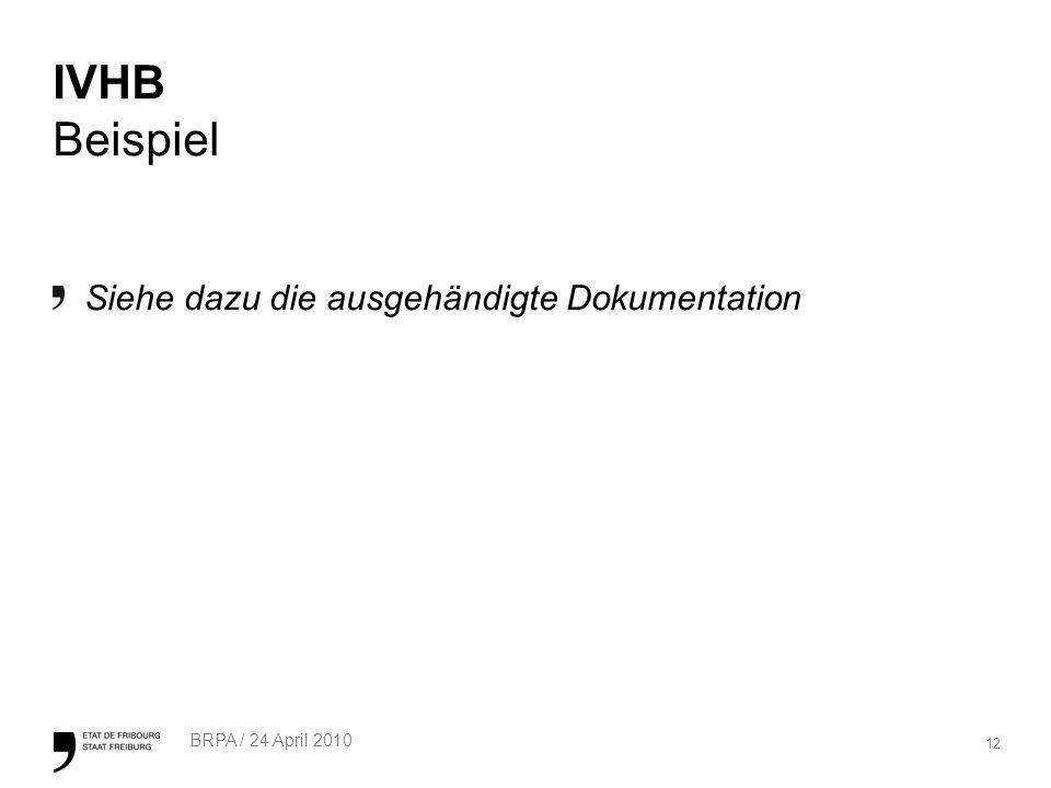 IVHB Beispiel Siehe dazu die ausgehändigte Dokumentation