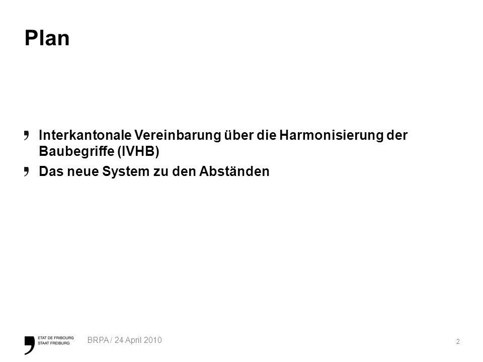 Plan Interkantonale Vereinbarung über die Harmonisierung der Baubegriffe (IVHB) Das neue System zu den Abständen.