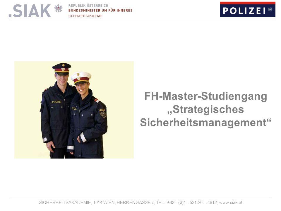 """FH-Master-Studiengang """"Strategisches Sicherheitsmanagement"""