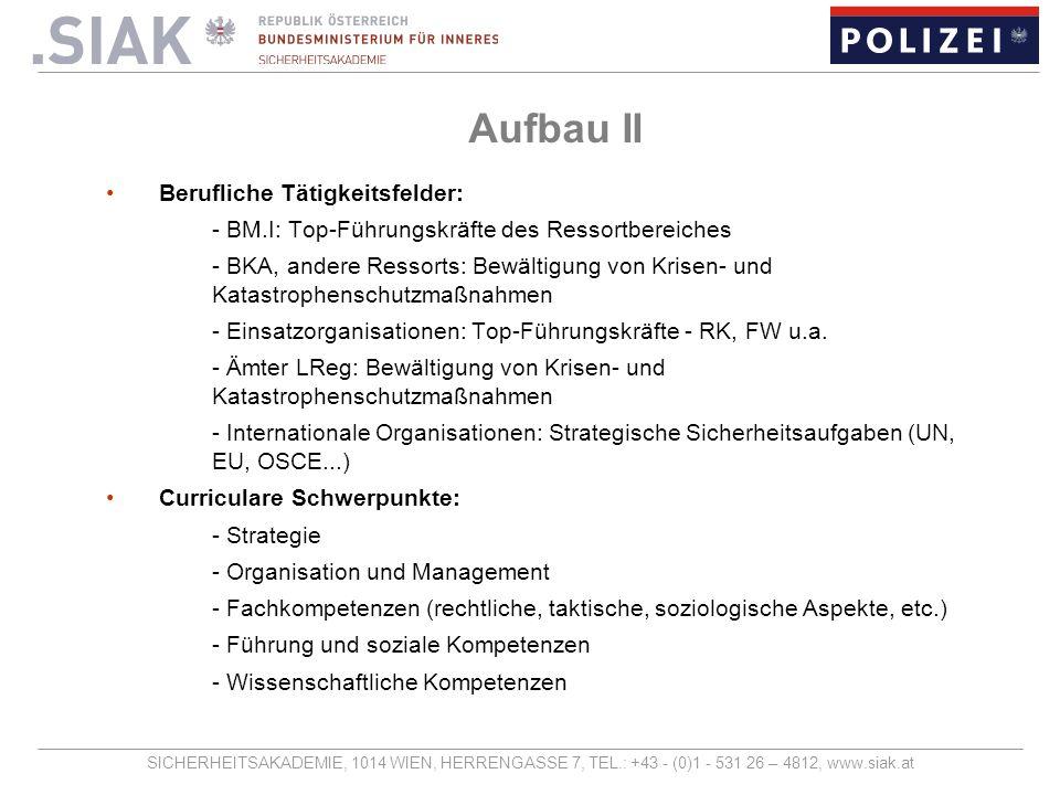 Aufbau II Berufliche Tätigkeitsfelder: