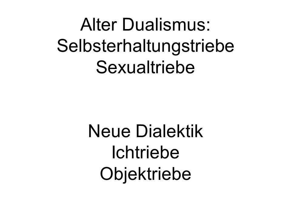 Alter Dualismus: Selbsterhaltungstriebe Sexualtriebe Neue Dialektik Ichtriebe Objektriebe
