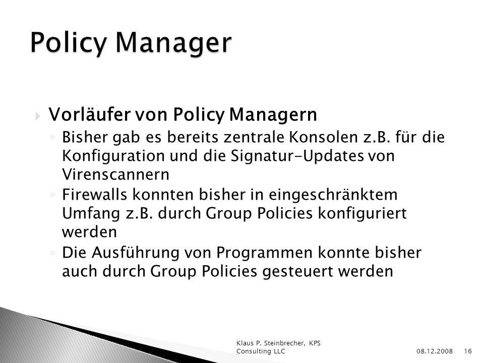 Policy Manager Vorläufer von Policy Managern