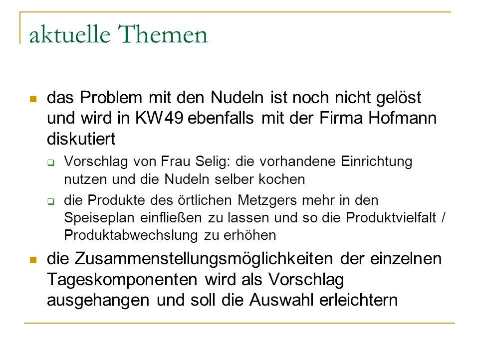 aktuelle Themen das Problem mit den Nudeln ist noch nicht gelöst und wird in KW49 ebenfalls mit der Firma Hofmann diskutiert.