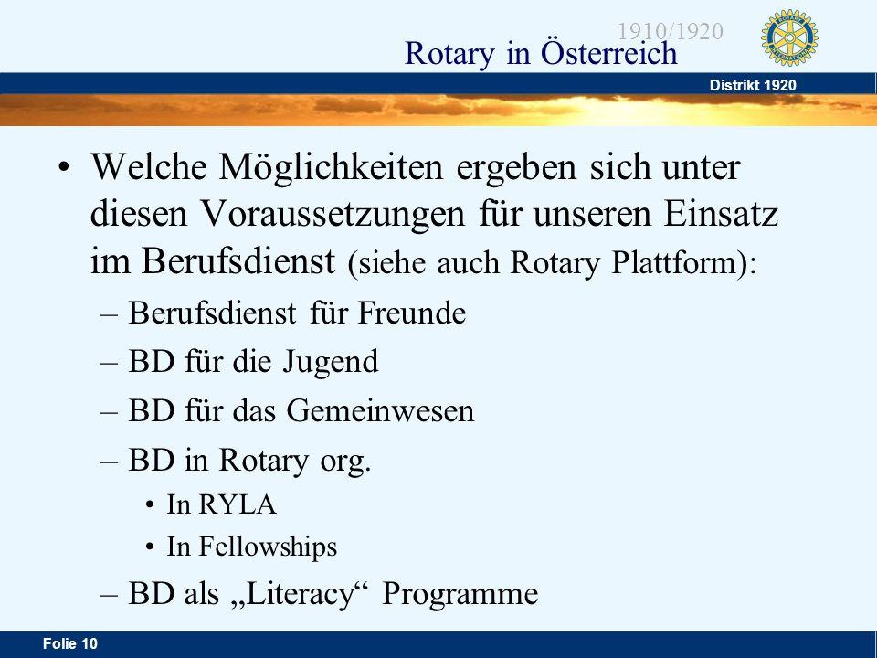 Welche Möglichkeiten ergeben sich unter diesen Voraussetzungen für unseren Einsatz im Berufsdienst (siehe auch Rotary Plattform):