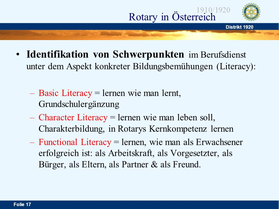 Identifikation von Schwerpunkten im Berufsdienst unter dem Aspekt konkreter Bildungsbemühungen (Literacy):