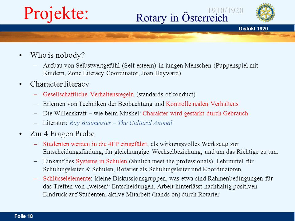 Projekte: Who is nobody Character literacy Zur 4 Fragen Probe