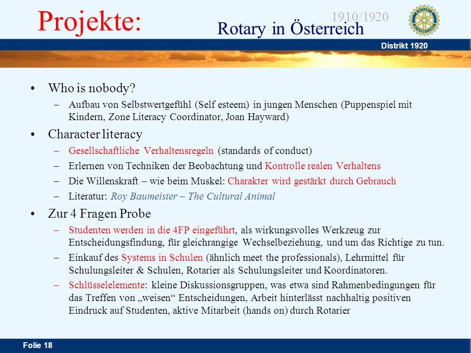 Projekte: Who is nobody Character literacy Zur 4 Fragen Probe