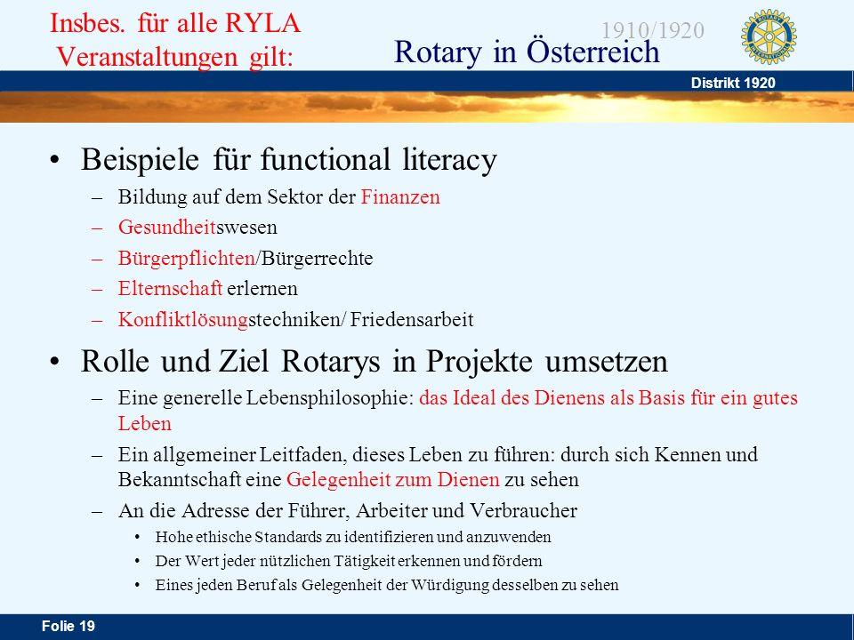 Insbes. für alle RYLA Veranstaltungen gilt: