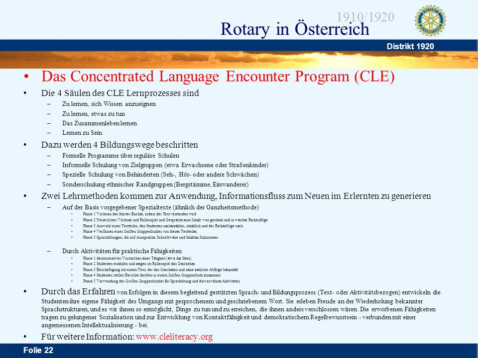 Das Concentrated Language Encounter Program (CLE)