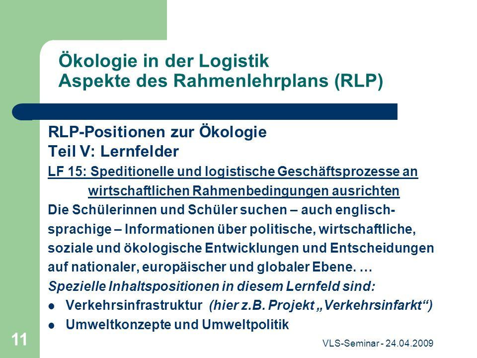 Ökologie in der Logistik Aspekte des Rahmenlehrplans (RLP)
