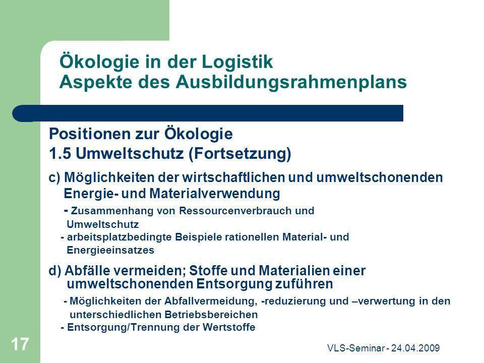Ökologie in der Logistik Aspekte des Ausbildungsrahmenplans