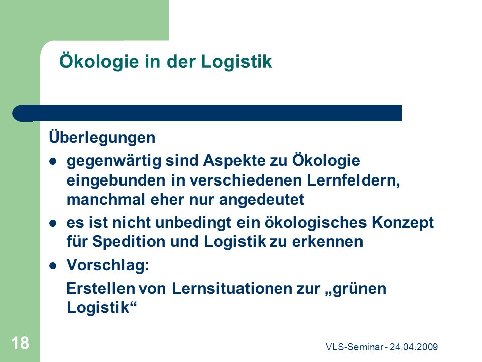 Ökologie in der Logistik