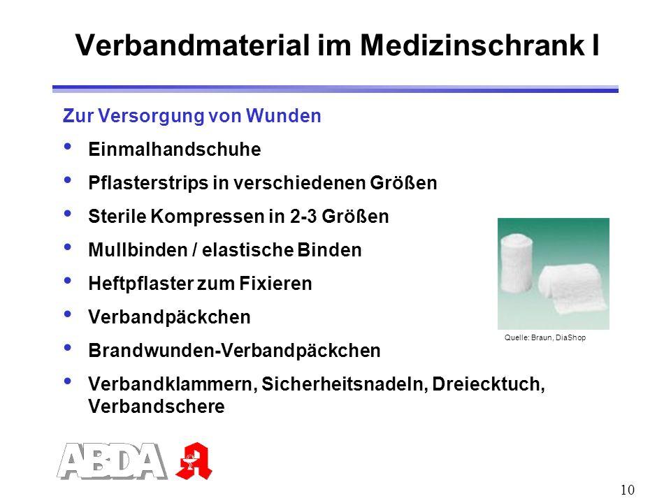 Verbandmaterial im Medizinschrank I