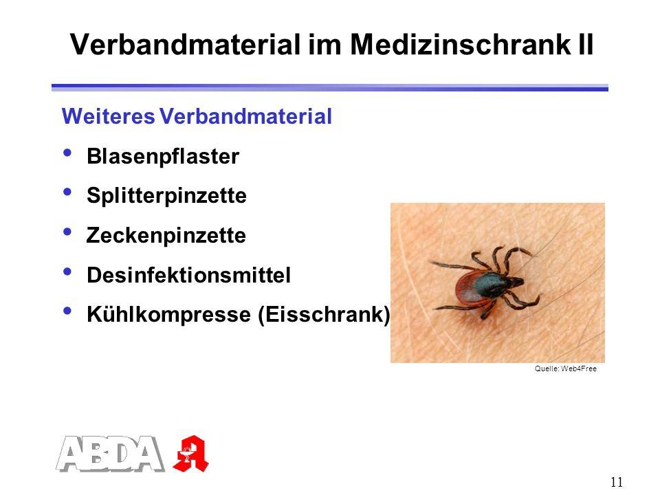 Verbandmaterial im Medizinschrank II