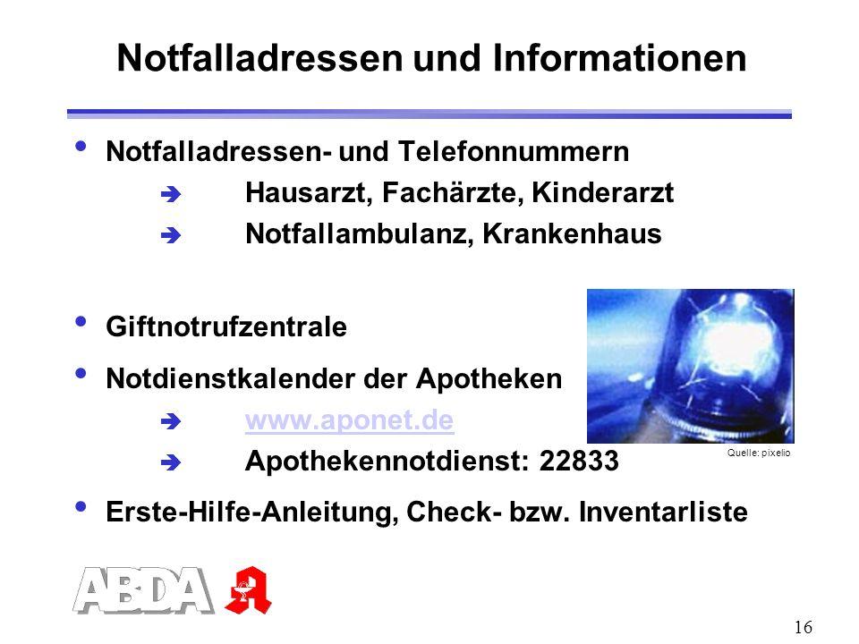 Notfalladressen und Informationen