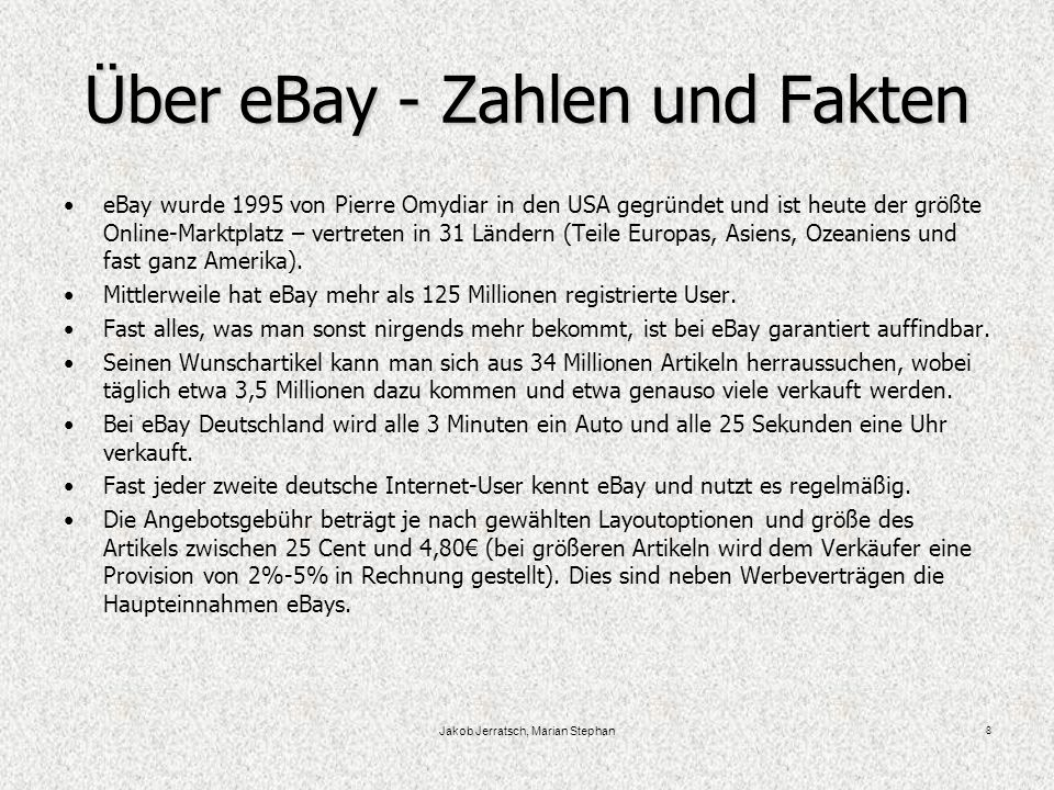 Über eBay - Zahlen und Fakten