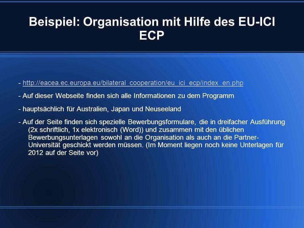 Beispiel: Organisation mit Hilfe des EU-ICI ECP