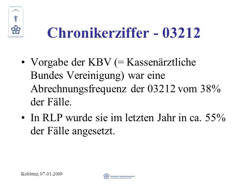 Chronikerziffer - 03212 Vorgabe der KBV (= Kassenärztliche Bundes Vereinigung) war eine Abrechnungsfrequenz der 03212 vom 38% der Fälle.