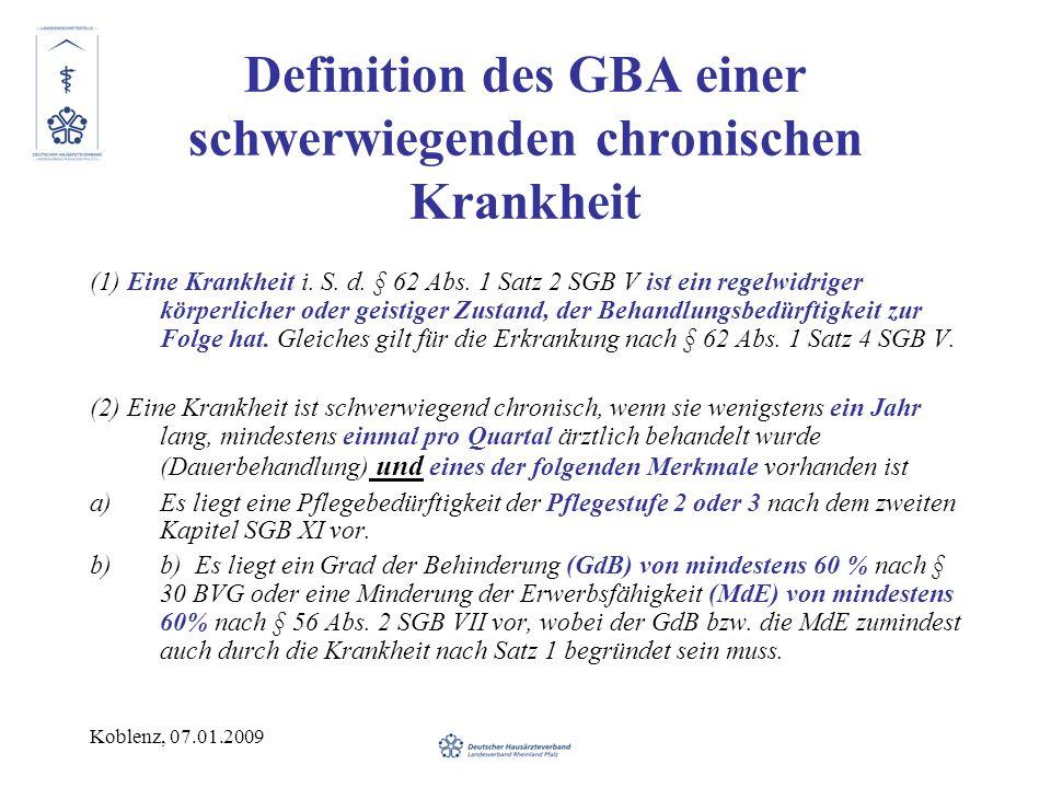 Definition des GBA einer schwerwiegenden chronischen Krankheit
