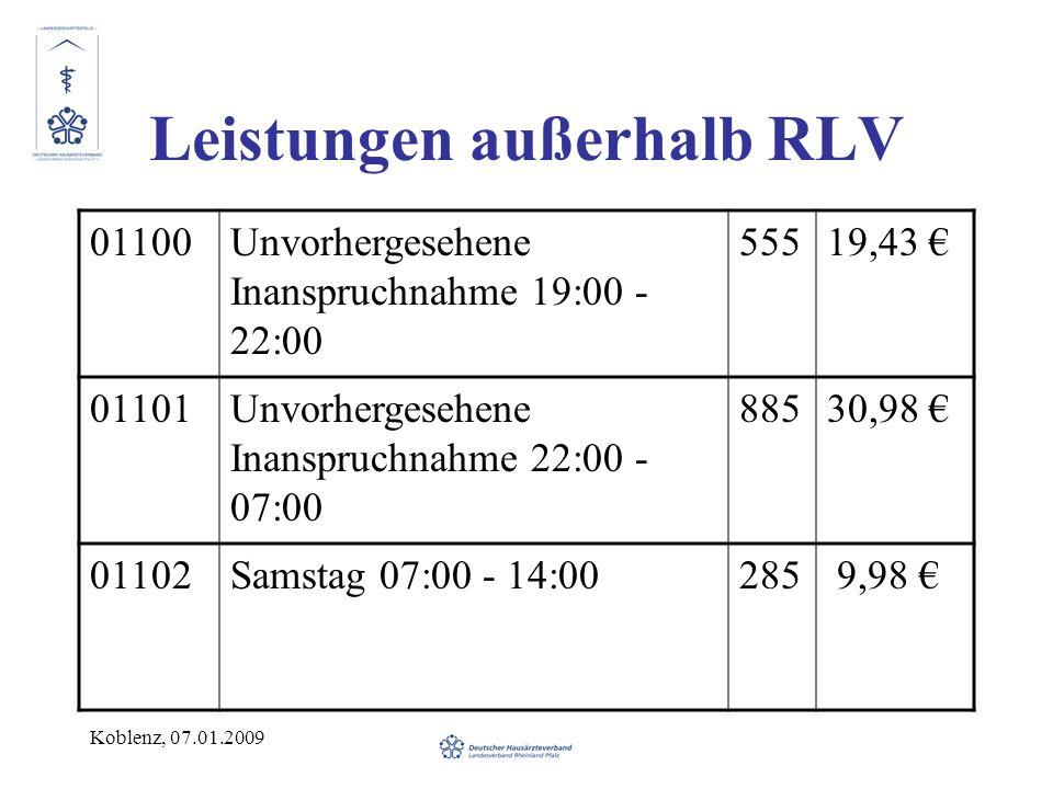 Leistungen außerhalb RLV