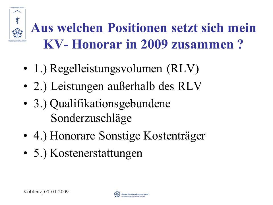 Aus welchen Positionen setzt sich mein KV- Honorar in 2009 zusammen