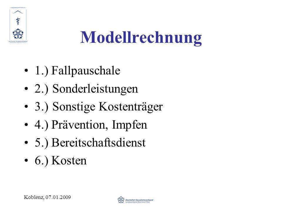 Modellrechnung 1.) Fallpauschale 2.) Sonderleistungen