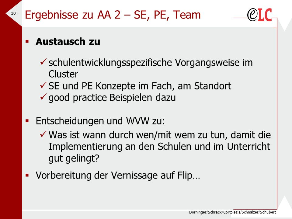 Ergebnisse zu AA 2 – SE, PE, Team