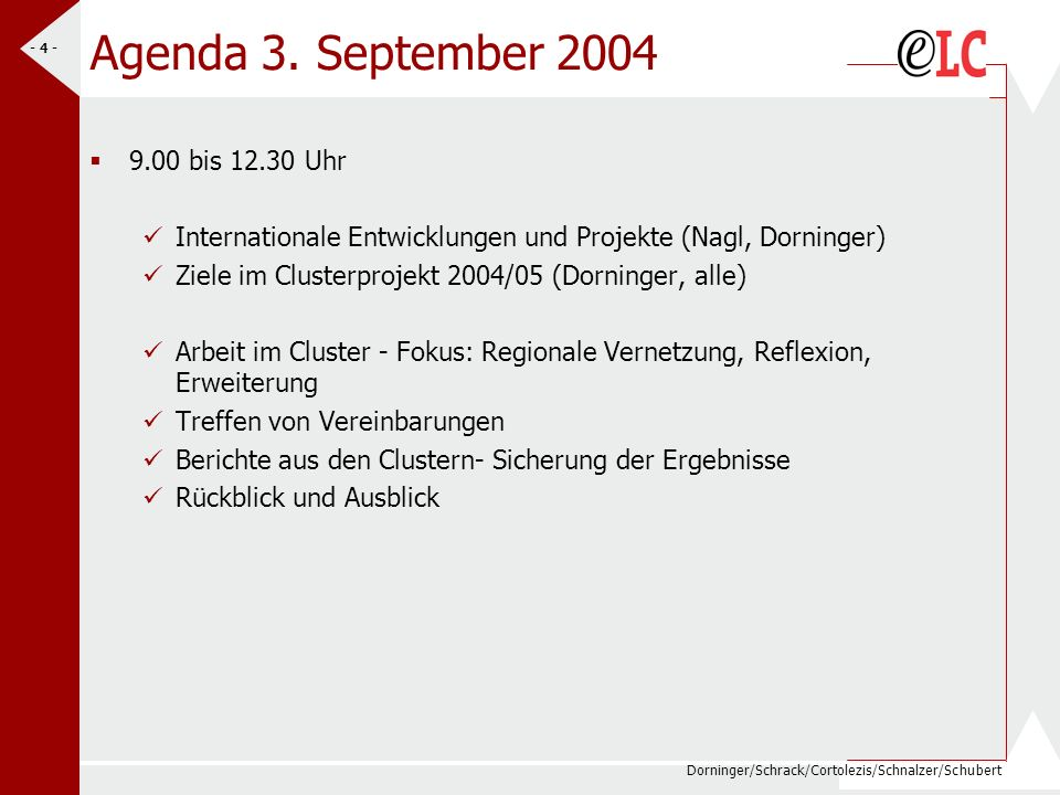 Agenda 3. September 2004 9.00 bis 12.30 Uhr