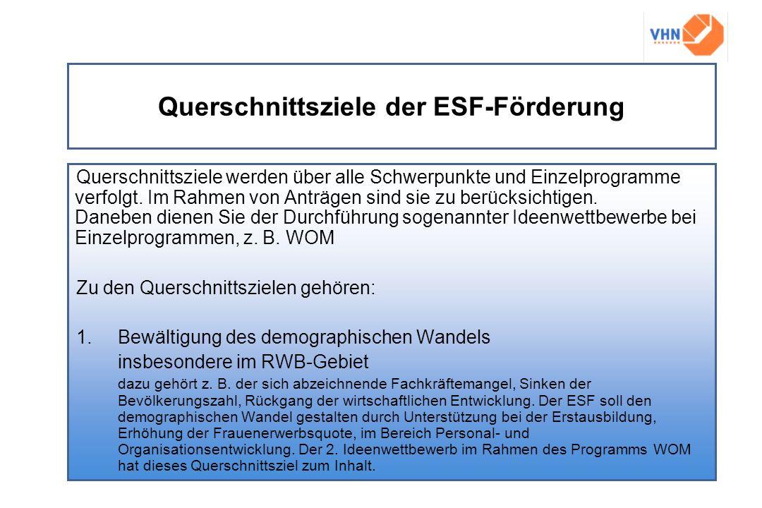 Querschnittsziele der ESF-Förderung