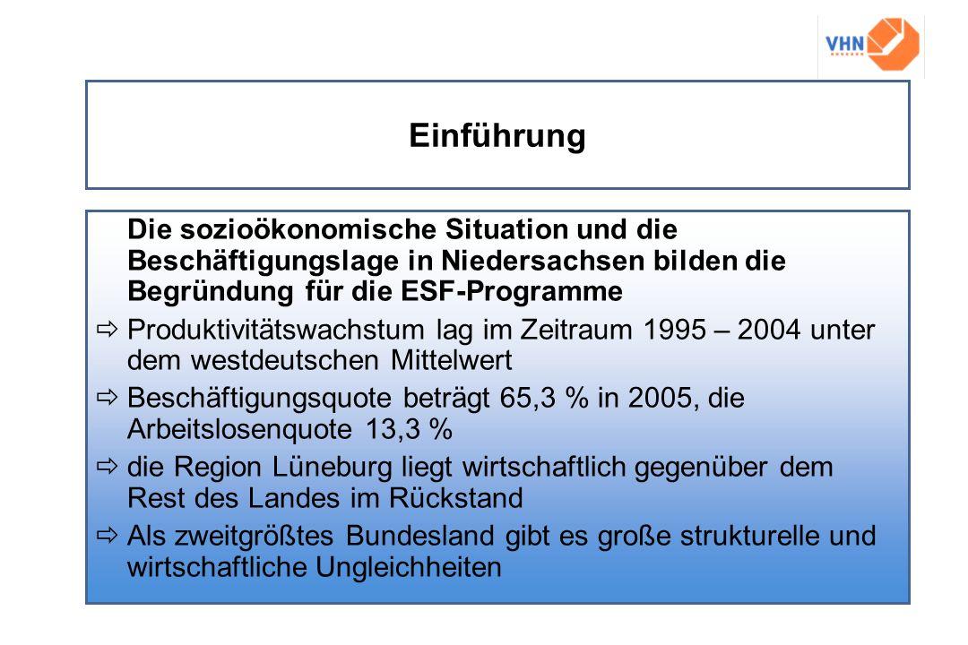 Einführung Die sozioökonomische Situation und die Beschäftigungslage in Niedersachsen bilden die Begründung für die ESF-Programme.