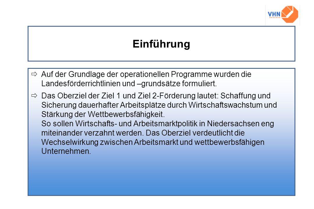 Einführung Auf der Grundlage der operationellen Programme wurden die Landesförderrichtlinien und –grundsätze formuliert.