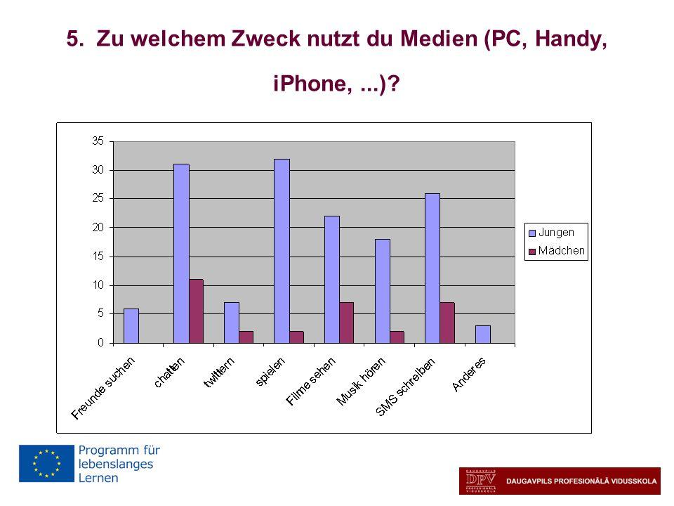 5. Zu welchem Zweck nutzt du Medien (PC, Handy, iPhone, ...)