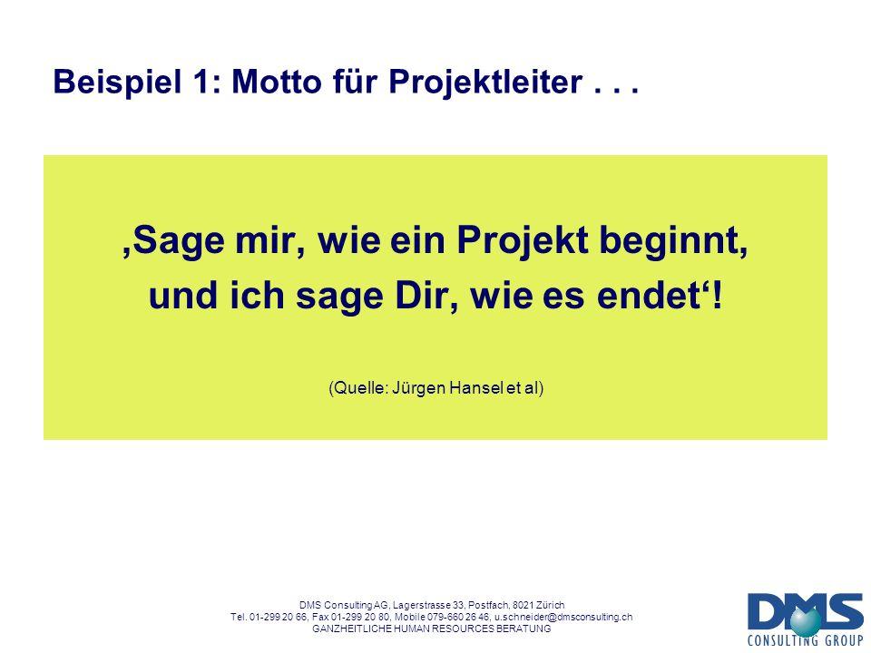 Beispiel 1: Motto für Projektleiter . . .