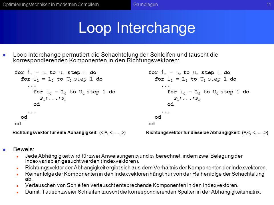 Loop Interchange Loop Interchange permutiert die Schachtelung der Schleifen und tauscht die korrespondierenden Komponenten in den Richtungsvektoren: