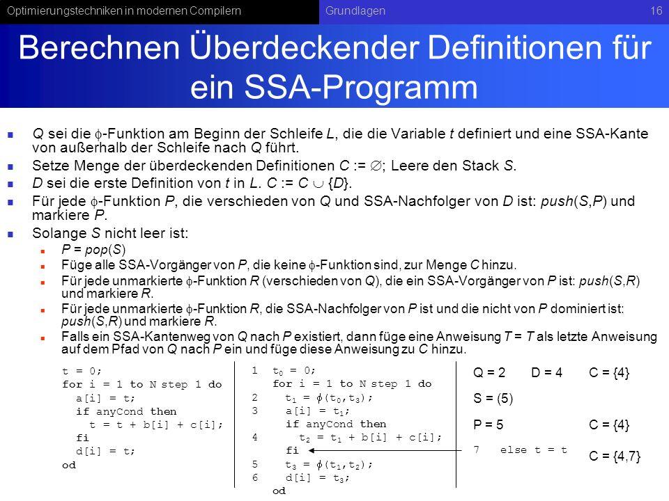 Berechnen Überdeckender Definitionen für ein SSA-Programm