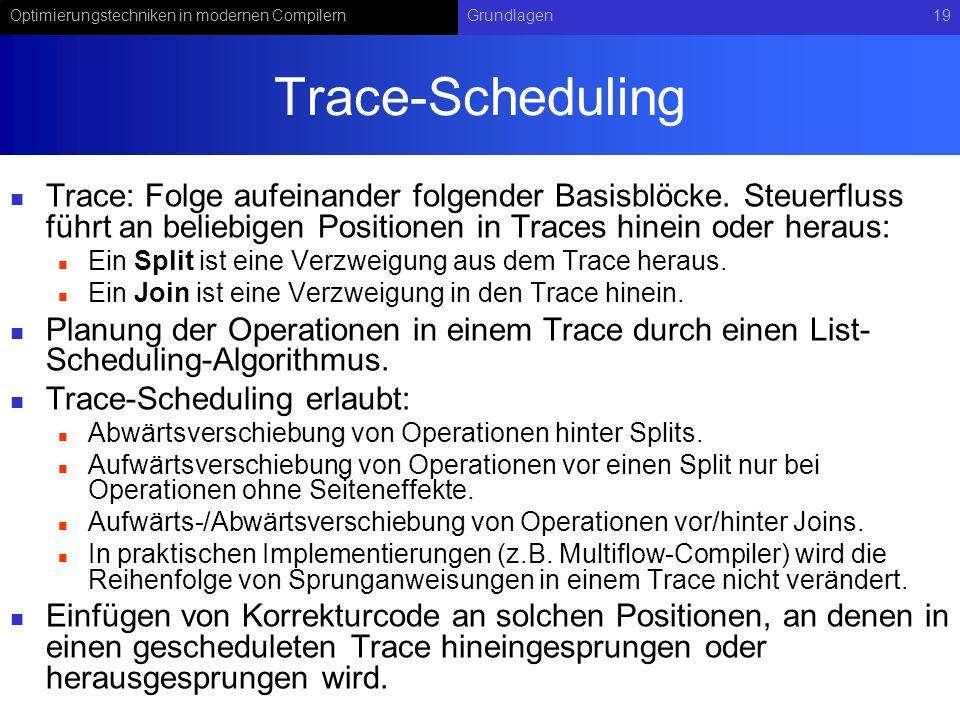 Trace-Scheduling Trace: Folge aufeinander folgender Basisblöcke. Steuerfluss führt an beliebigen Positionen in Traces hinein oder heraus:
