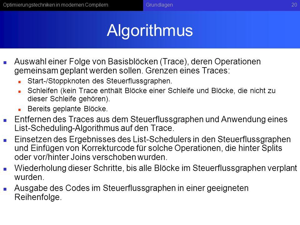 Algorithmus Auswahl einer Folge von Basisblöcken (Trace), deren Operationen gemeinsam geplant werden sollen. Grenzen eines Traces: