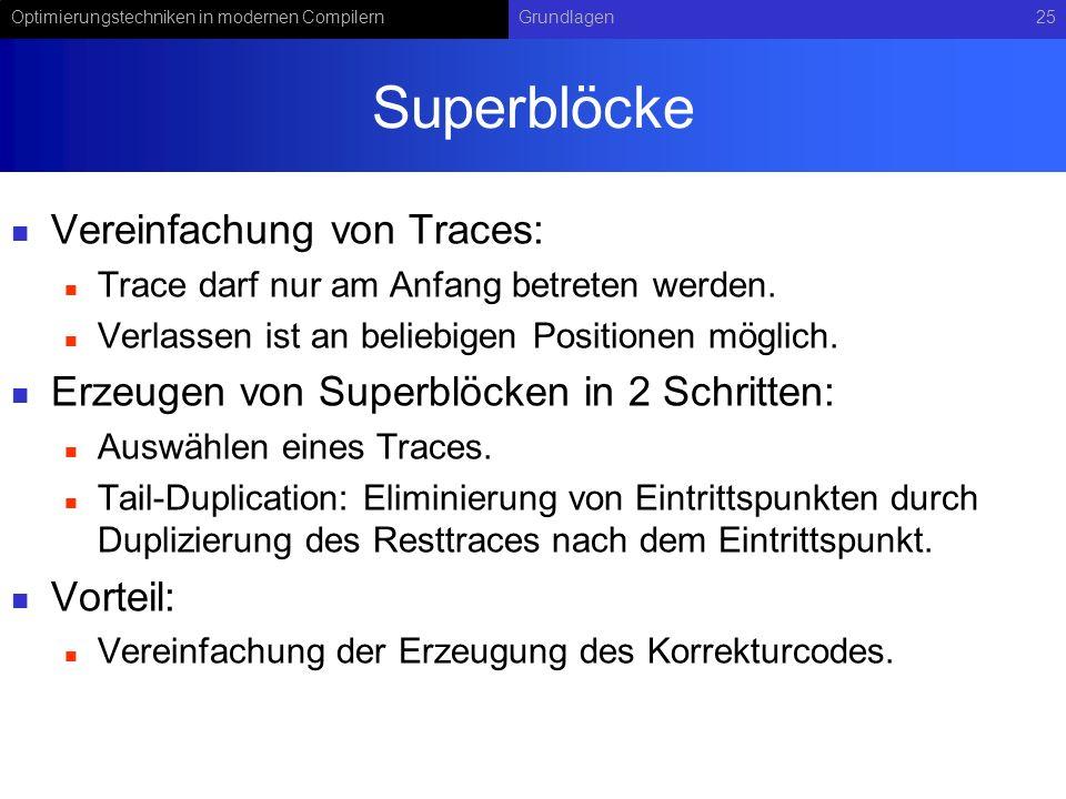 Superblöcke Vereinfachung von Traces: